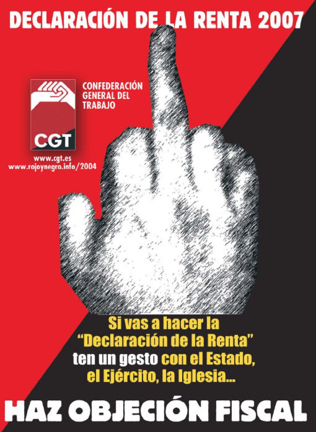 Cartel Objeción Fiscal 2007 CGT