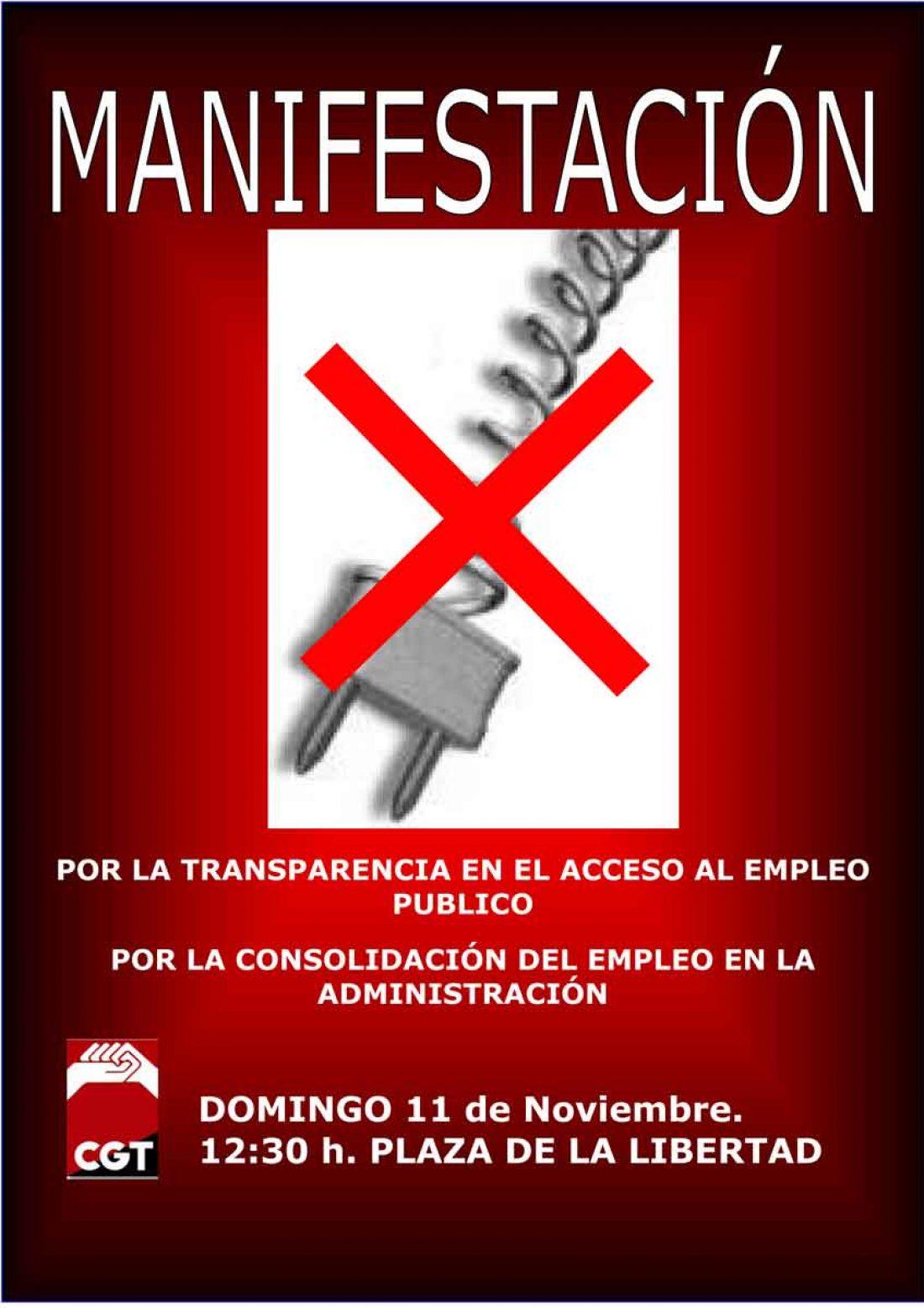 Cartel Manifestación CGT Ayuntamiento de Valladolid