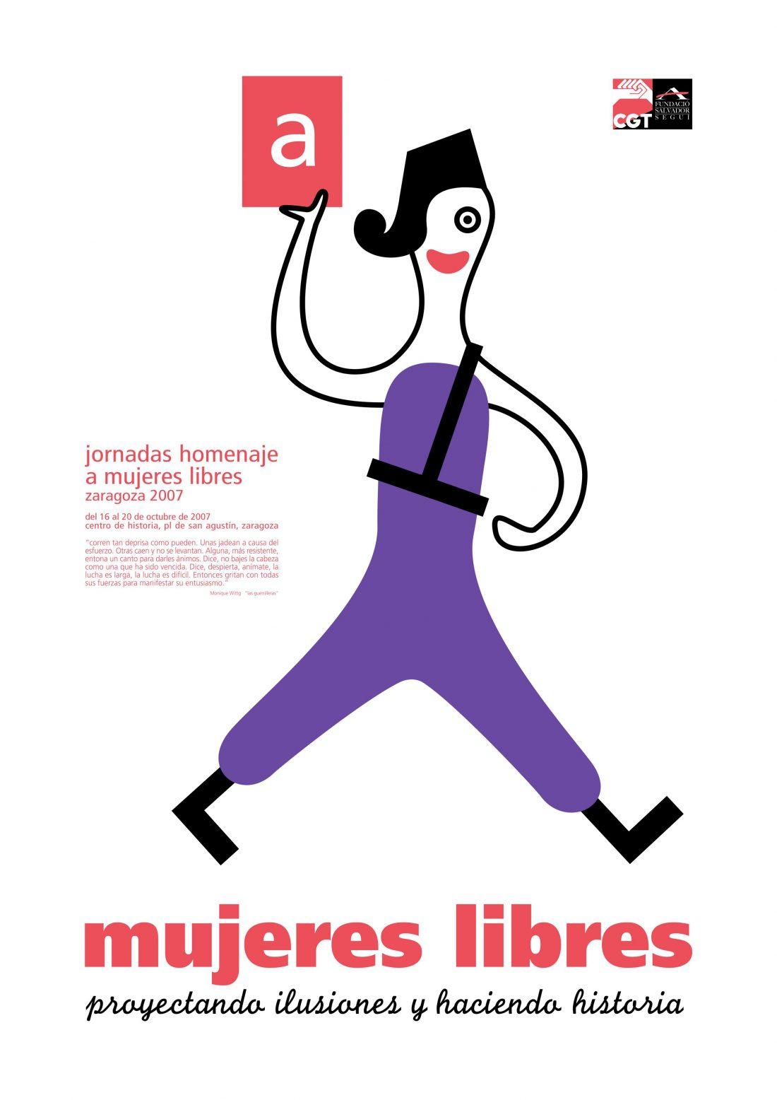 Cartel Jornadas Homenaje Mujeres Libres (Zaragoza 2007)