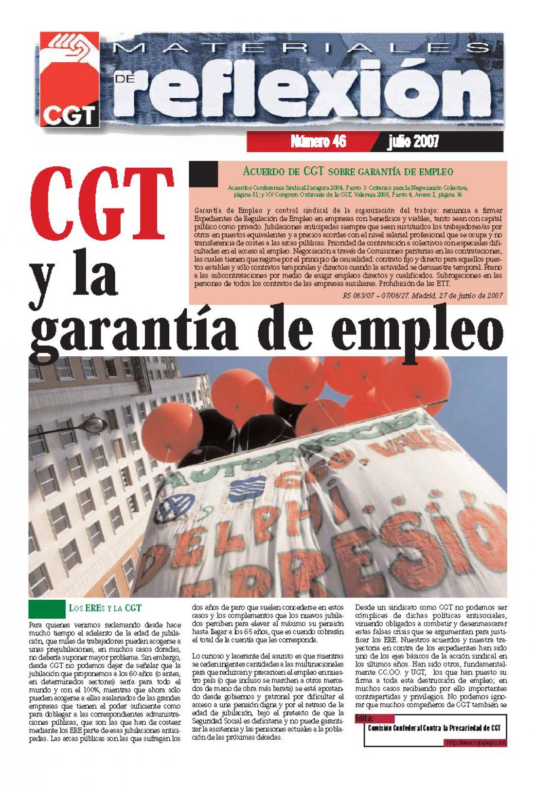 MR 46 Acuerdos de CGT sobre Garantía