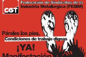 La Federación de Sindicatos de la Industria Metalúrgica [FESIM-CGT] lleva a cabo una Manifestación en Barcelona