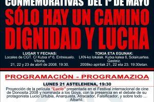 Cartel Jornadas 1 Mayo 2008 CGT (Gasteiz)