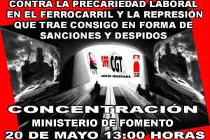 Concentración contra la precariedad laboral y la represión sindical en el sector ferroviario