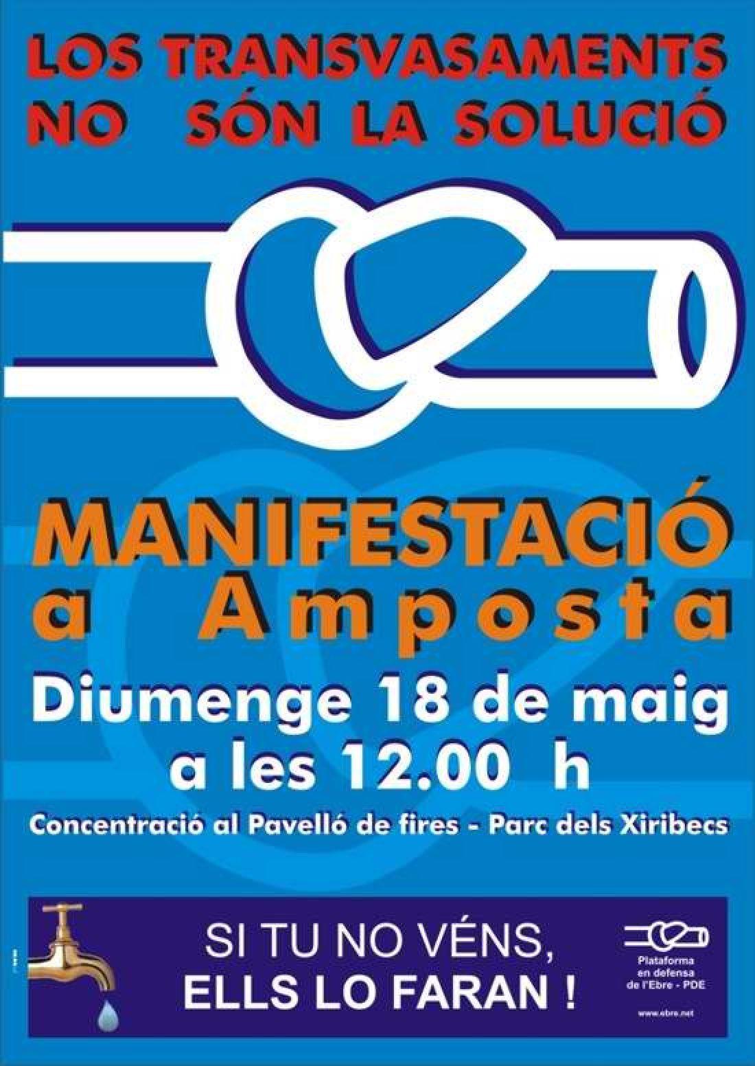 Contra los transvases e interconexiones de redes: Manifestación en Amposta (Delta de l'Ebre). 18 de Mayo