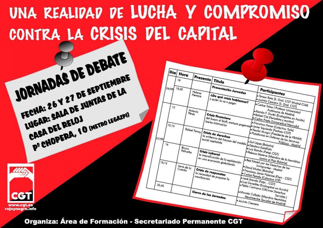 """Jornadas Formativas: """"Una realidad de lucha y compromiso contra la crisis del capital"""""""