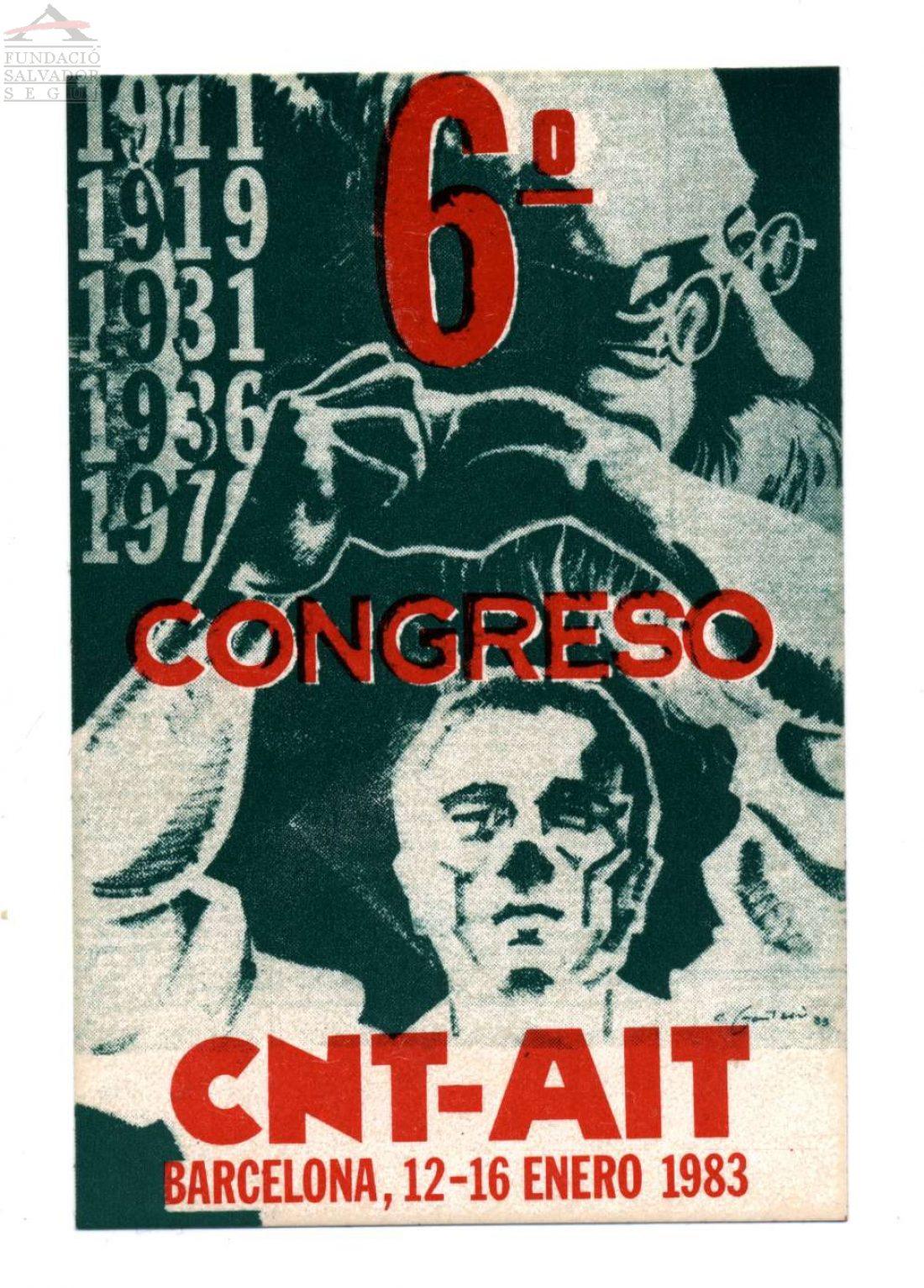Cartel VI-VII Congreso CNT (Barcelona y Torrejón de Ardoz 1983)