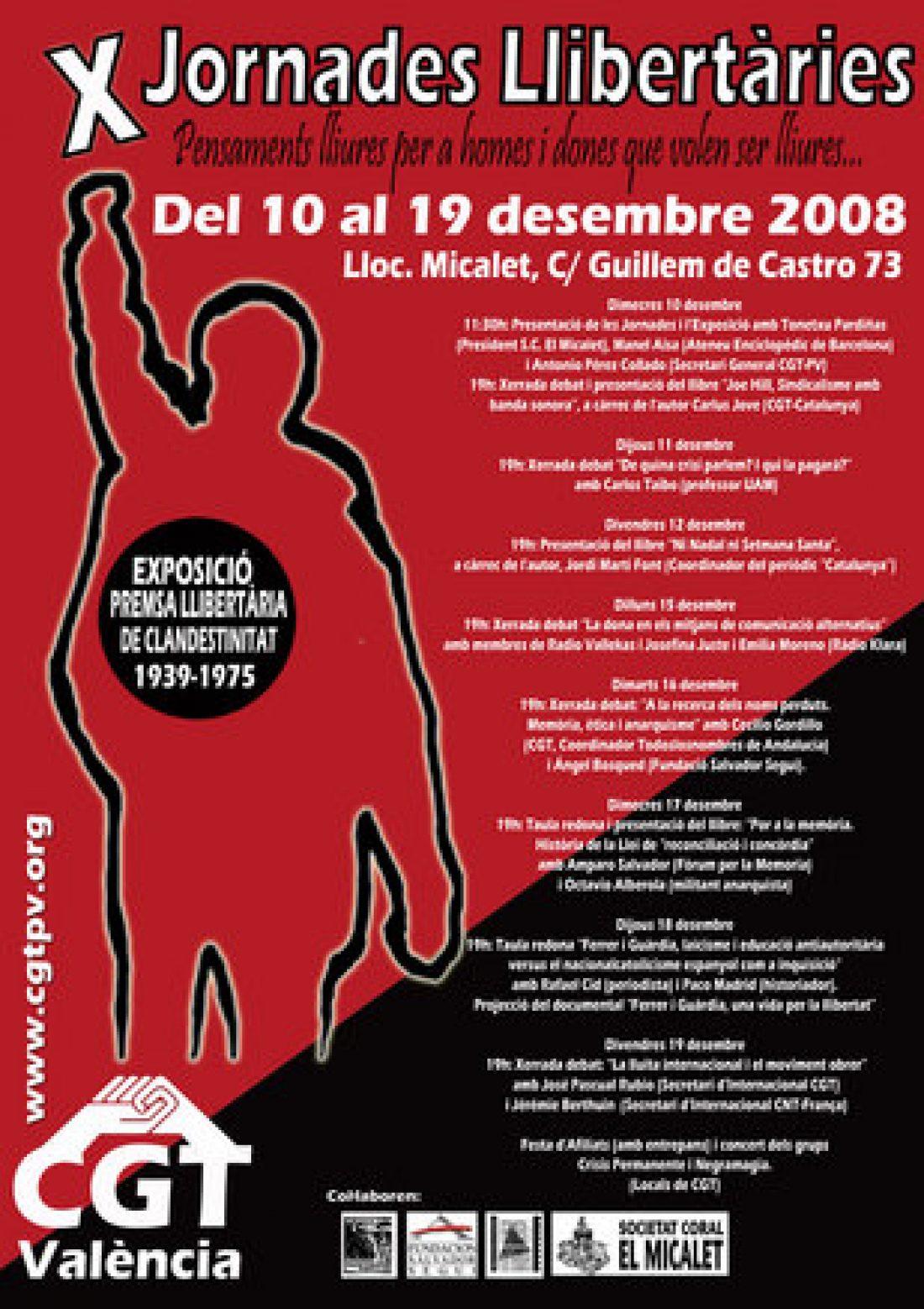 De 10 a 19 de Diciembre: «X Jornades Llibertàries de CGT València»