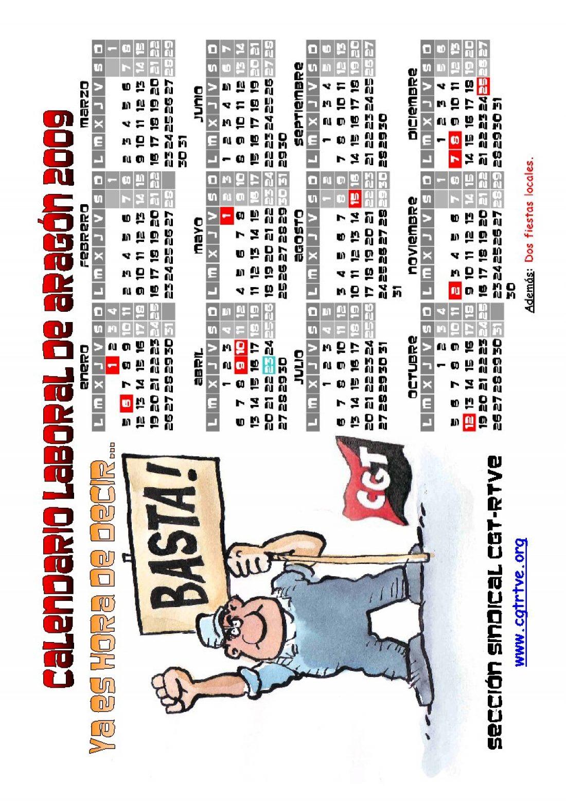 PDF cegetero del calendario laboral 2009 de Aragón