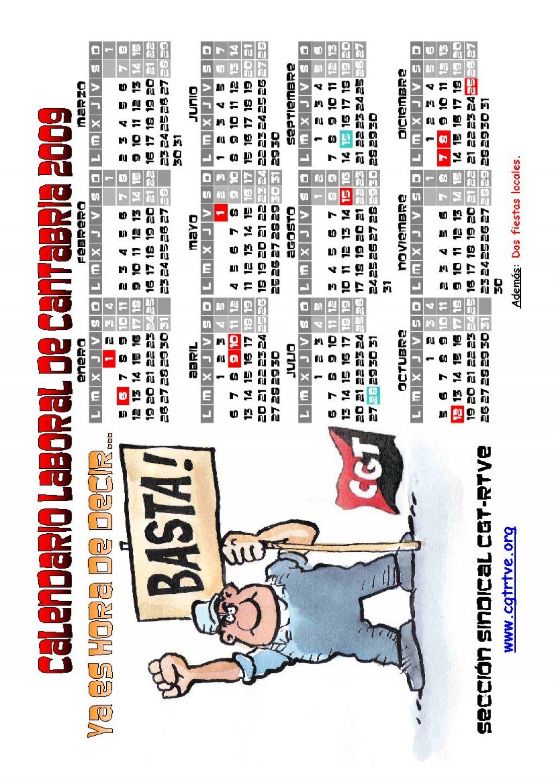 PDF cegetero del Calendario Laboral 2009 de Cantabria