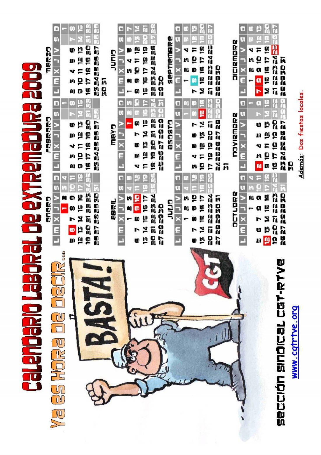 PDF cegetero del Calendario Laboral 2009 de Extremadura