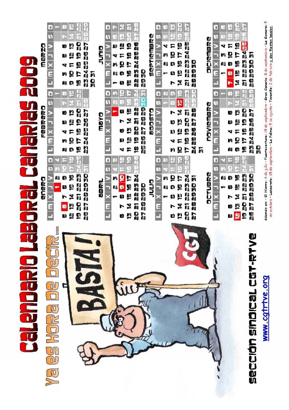 PDF cegetero del Calendario Laboral 2009 de las Islas Canarias