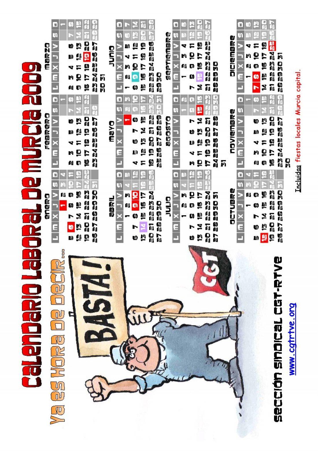 PDF cegetero del Calendario Laboral 2009 de Murcia