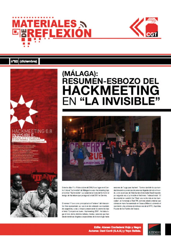 MR 60. Resumen-esbozo del 'Hackmeeting' en La Casa Invisible de Málaga