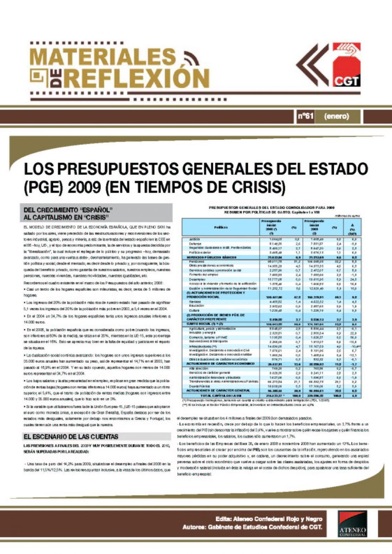MR 61. Presupuestos Generales del Estado 2009 (En tiempos de crisis)
