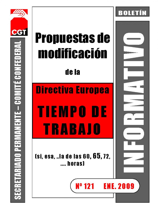 121. Propuestas de modificación de la Directiva Europea del Tiempo de Trabajo