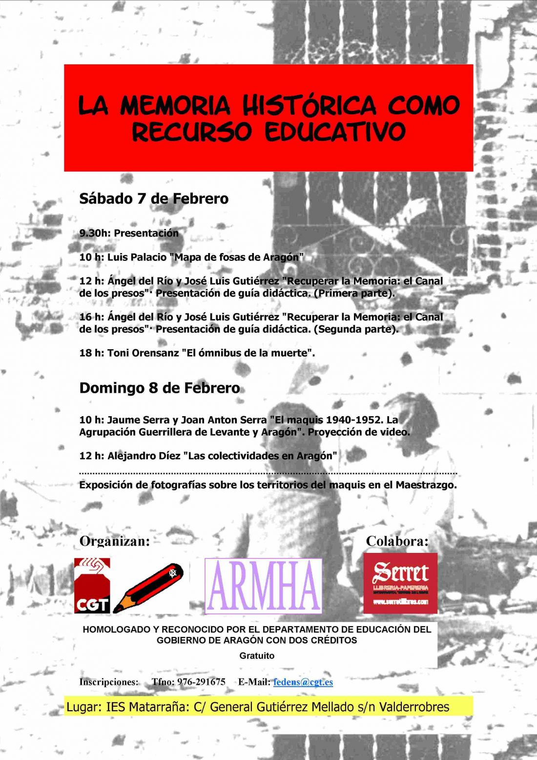 Teruel. 7 y 8 de Febrero: «La memoria histórica como recurso educativo»