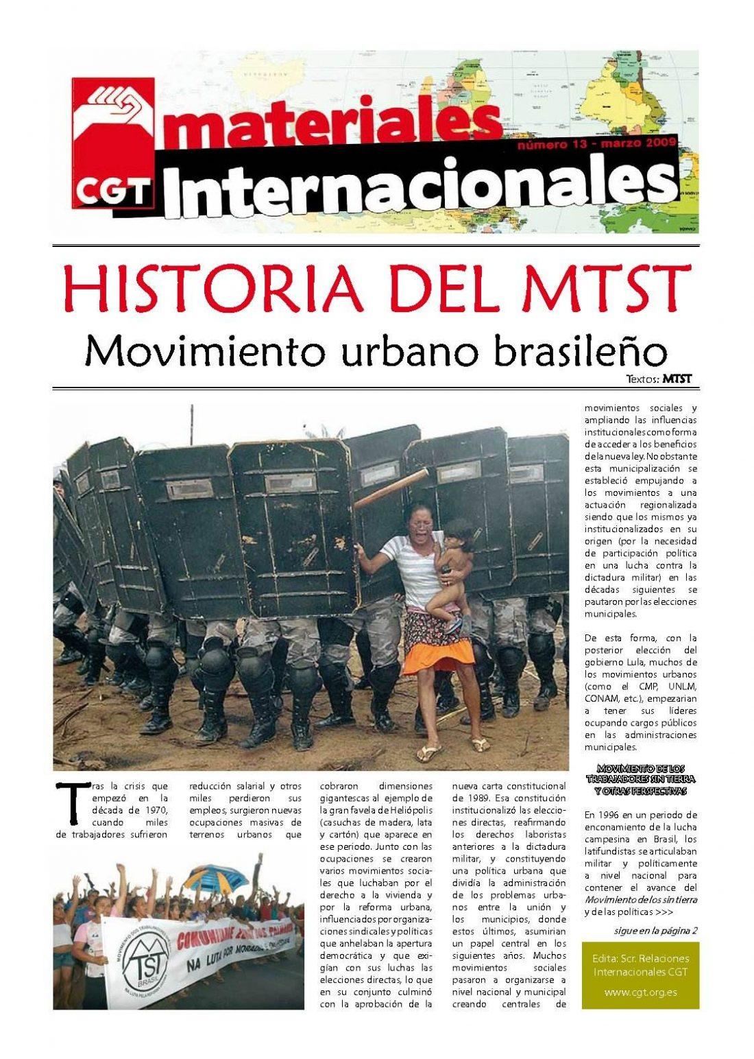 Nº 13. Materiales Internacionales. Marzo de 2009