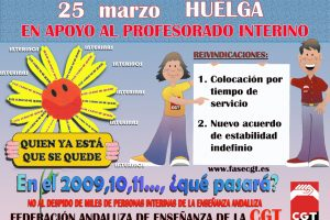 La Federación de Enseñanza de CGT en Andalucía convoca huelga y manifestación, en contra de la precariedad laboral actual del profesorado