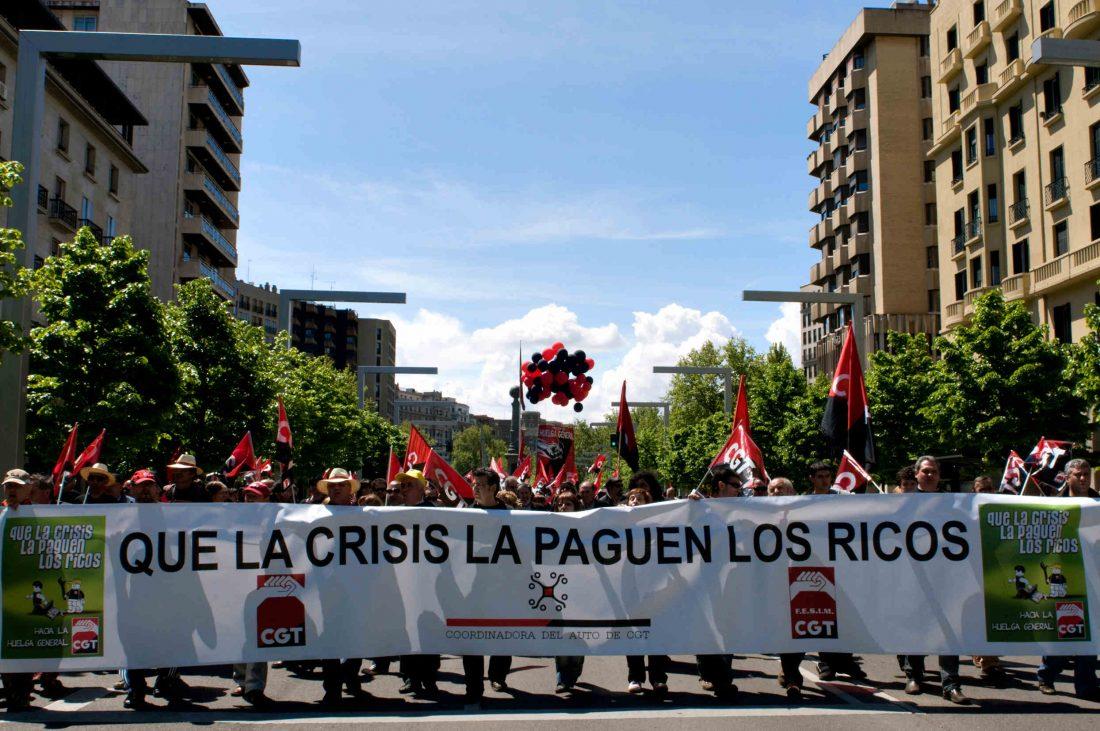Zaragoza: La CGT sale a la calle en una jornada reivindicativa y combativa en contra del capitalismo causante de la crisis