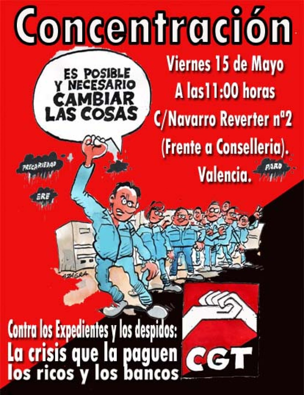 15 de Mayo: Concentración en Valencia contra los ERE y los despidos