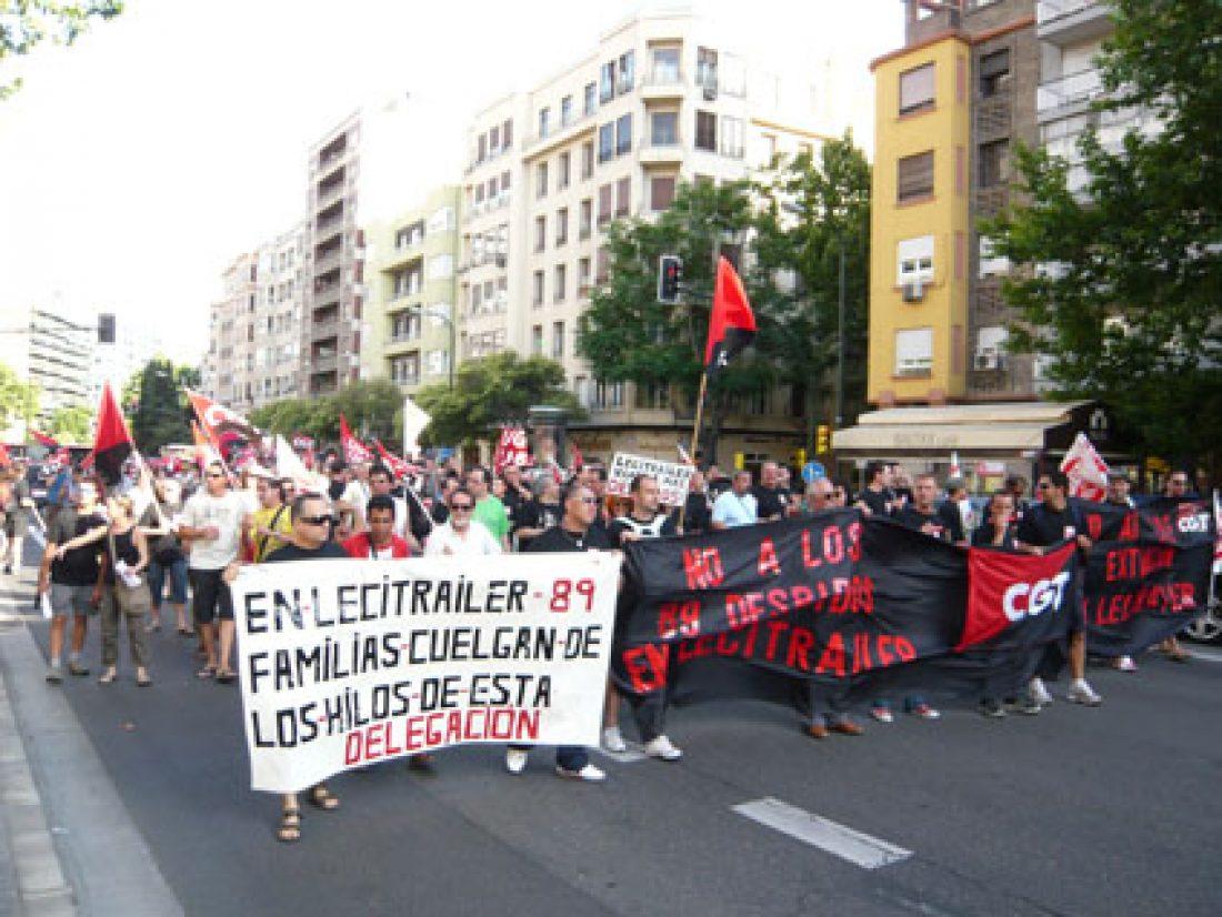 Manifestación en Zaragoza de los trabajadores de Lecitrailer (15/VI/2009)