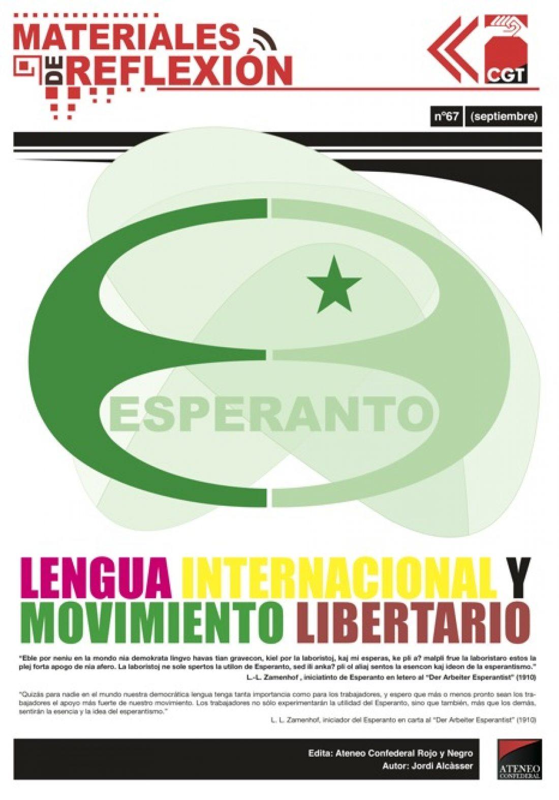 MR nº 67: Esperanto, Lengua Internacional y Movimiento Libertario