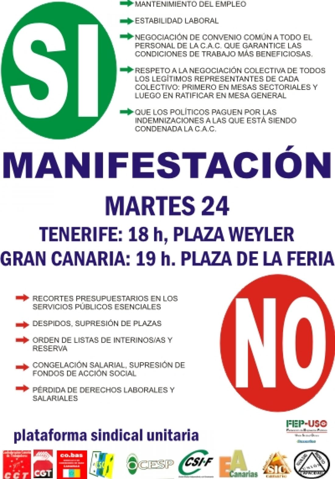 Tenerife, 24 de noviembre: Concentración en defensa de los servicios públicos
