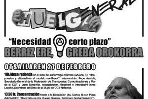 CGT-LKN convoca en Pamplona-Iruñea una serie de actos por la Huelga General