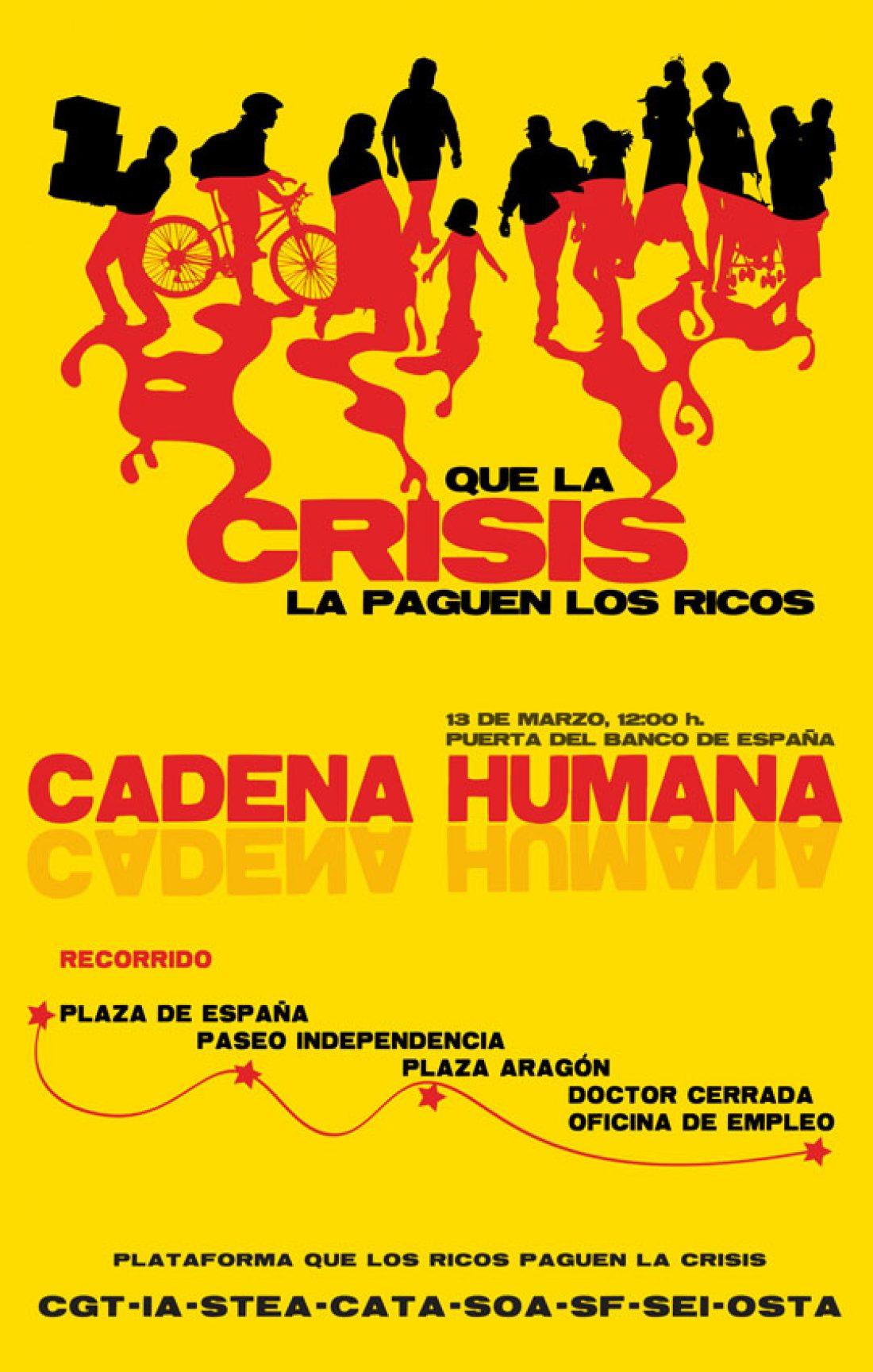 Zaragoza, 13 de Marzo: Cadena humana contra la crisis y sus causantes.