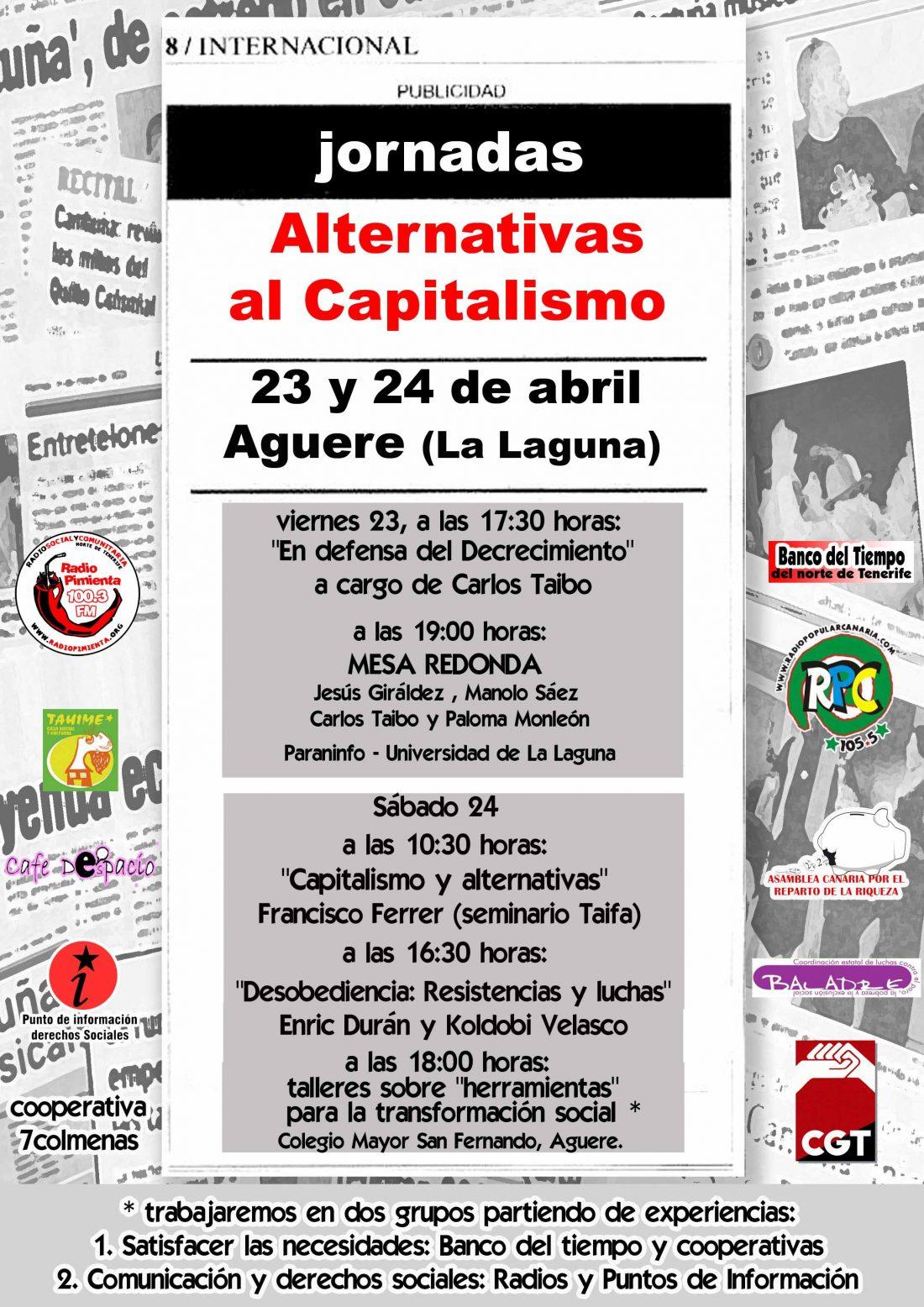 Tenerife, 23 y 24 de Abril: Jornadas «Alternativas al capitalismo»