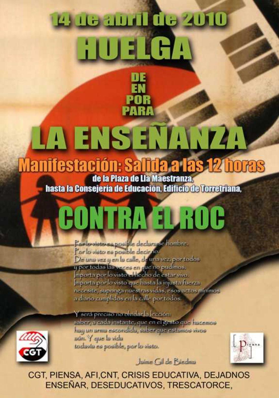 14 de Abril. El profesorado andaluz convocado a la Huelga en la enseñanza.