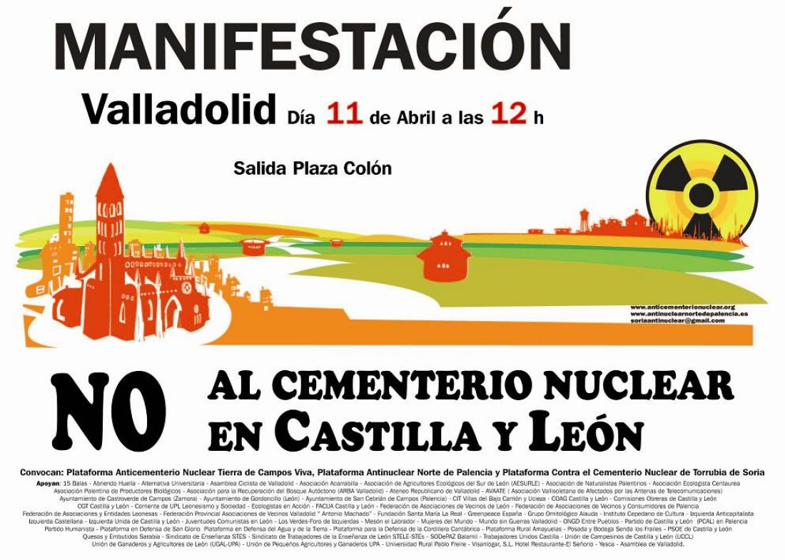 Valladolid, sábado 11 de Abril: Manifestación contra cementerios nucleares en Castilla y León