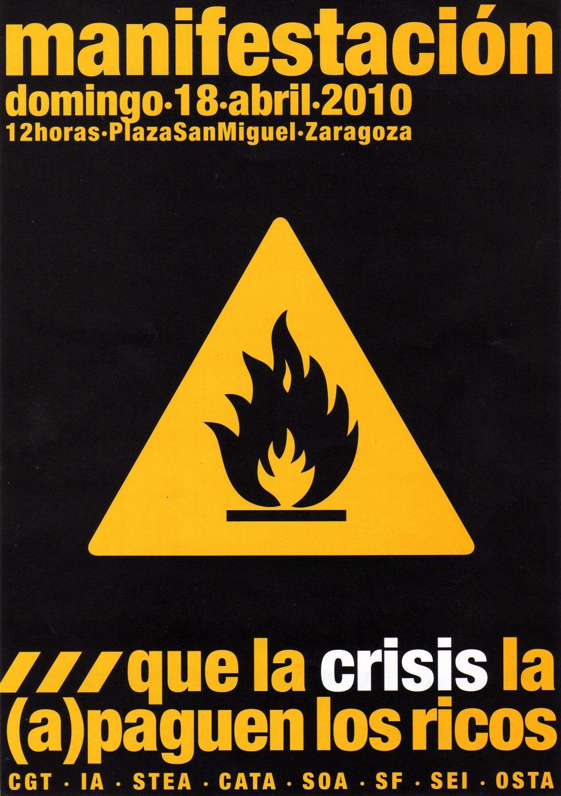 Zaragoza. Domingo 18 de Abril: Manifestación «La crisis que la (a)paguen los ricos»