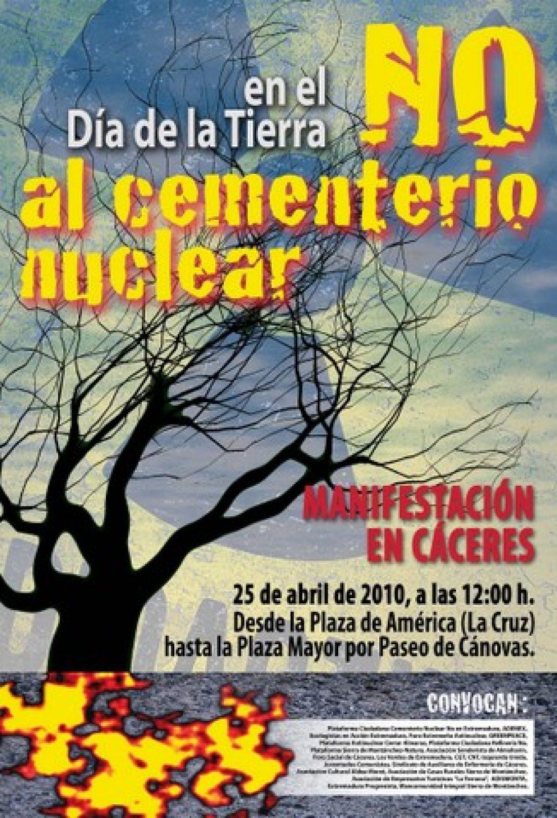 Cáceres, 25 de abril: en el día de la Tierra, manifestación «No al cementerio nuclear»