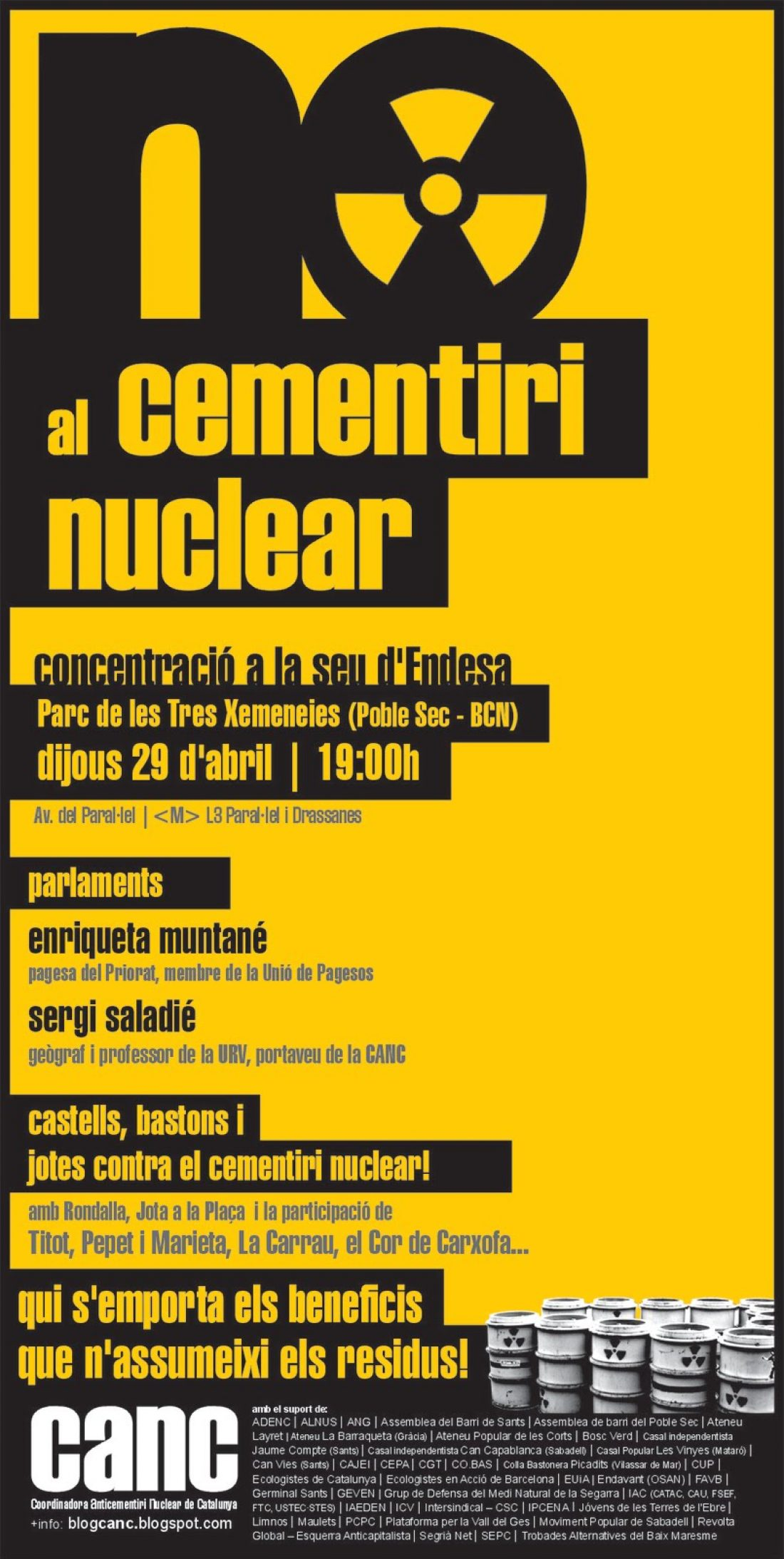 Barcelona, 29 de Abril: concentración contra el cementerio nuclear en Ascó
