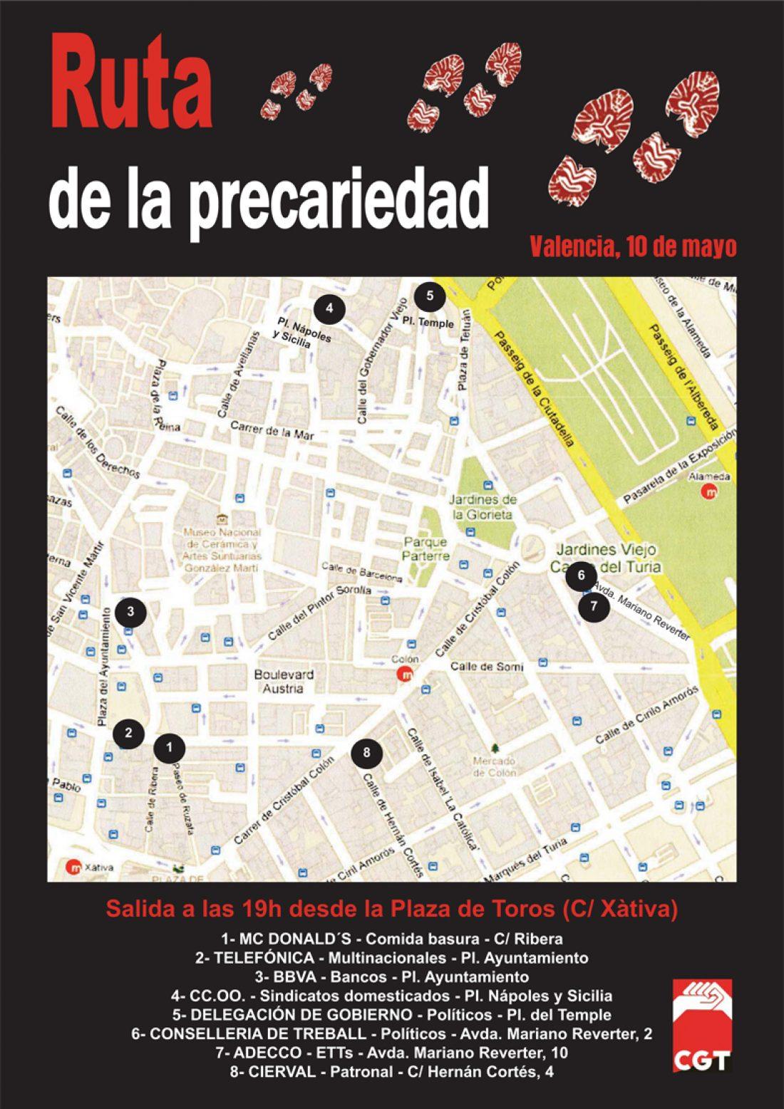 Valencia, 10 y 12 de Mayo: Ruta de la Precariedad y Marcha contra la crisis.