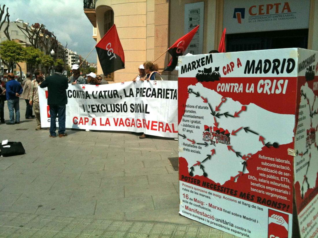 Concentraciones en Reus y Tarragona por las Marchas a Madrid contra la crisis