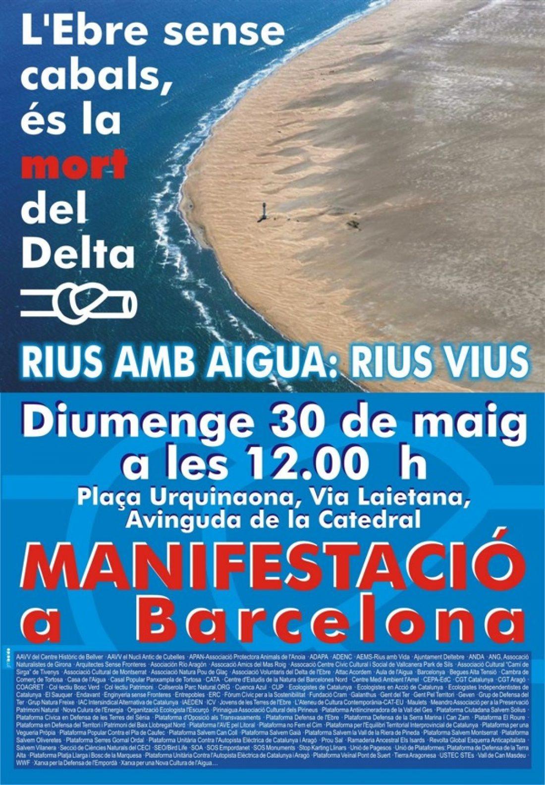 Barcelona, 30 de mayo: Manifestación «El Ebro sin caudales es la muerte del Delta»