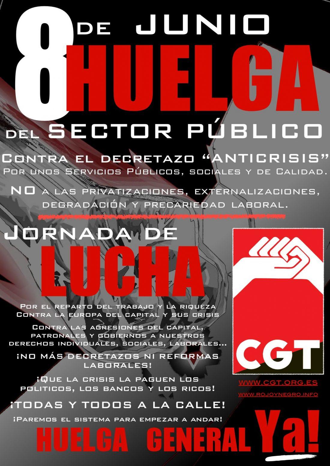 Convocatorias de actos, acciones y movilizaciones de CGT para la Huelga en el Sector Público y la Jornada de Lucha del 8 de Junio