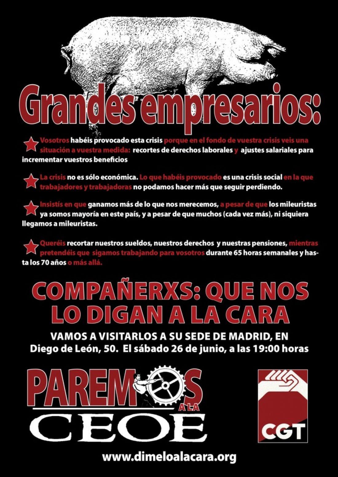 CGT Madrid-CLM-Ex: Campaña «¿Qué le dirías a la cara a Díaz Ferrán?»