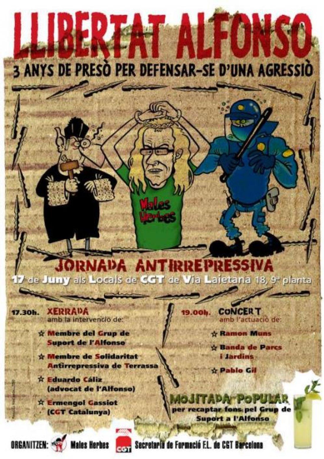 Barcelona, 17 de Junio: Jornada Antirepresiva: Libertad Alfonso