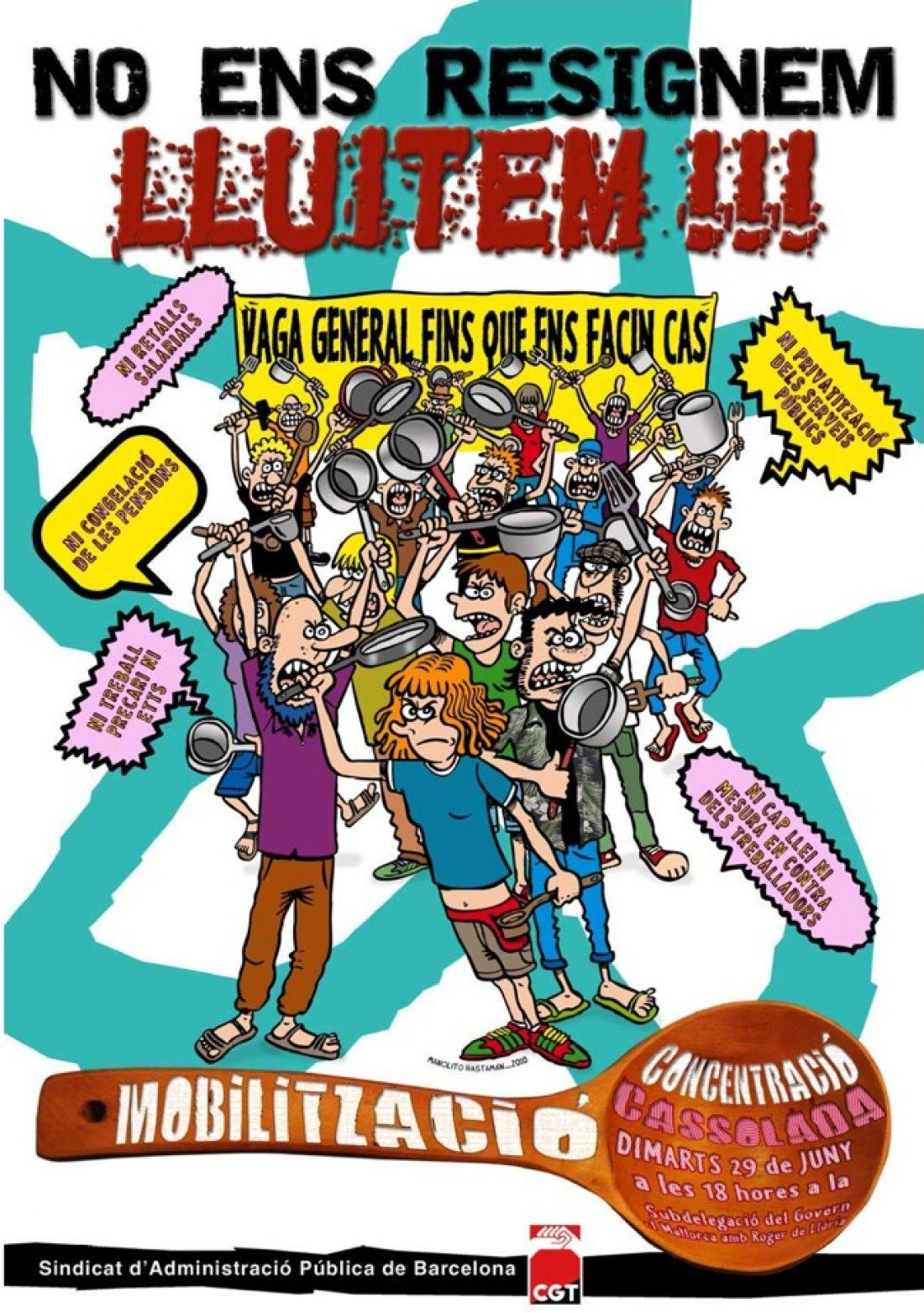 Barcelona, 29 de Junio: Concentración cacerolada contra la reforma laboral