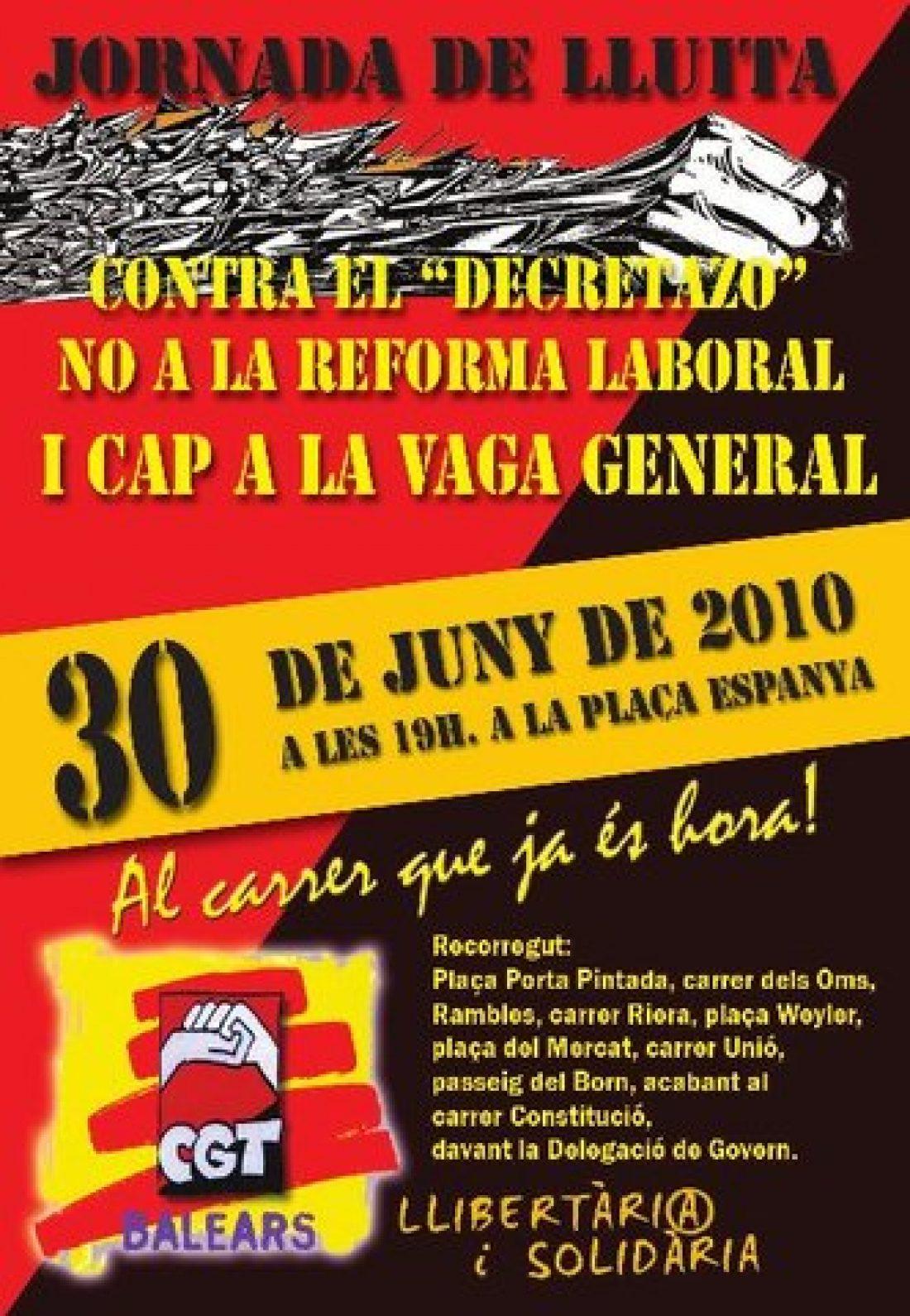 Baleares, 30 de Junio: CGT convoca Jornada de Lucha