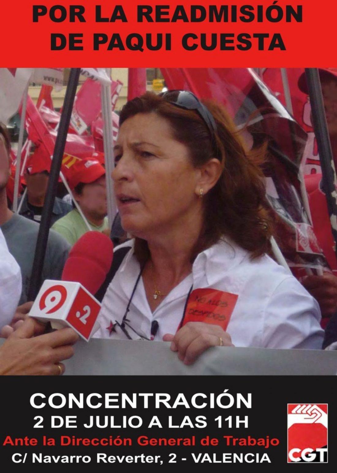 2 de julio, Valencia: Concentración por la readmisión de Paqui Cuesta