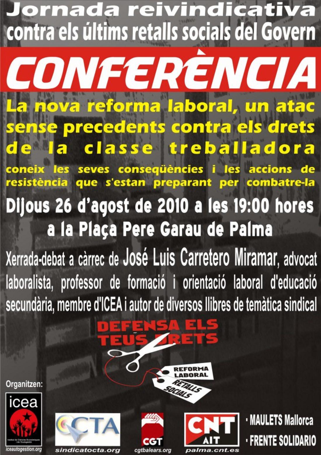 Palma, 26 de Agosto: Jornada reivindicativa y Conferencia sobre la reforma laboral
