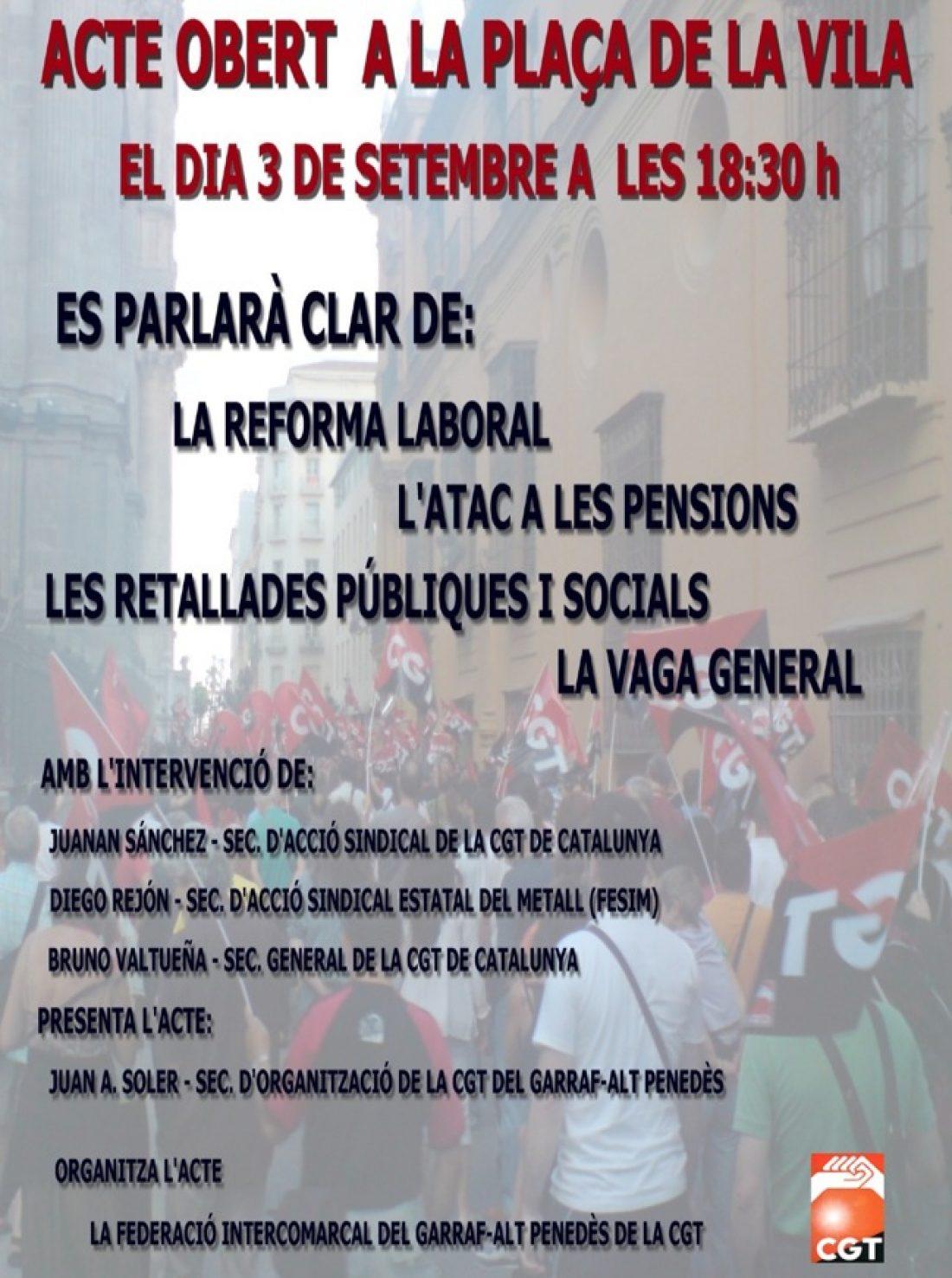 Vilanova i la Geltrú, 3 de Septiembre: Acto público sobre la reforma laboral