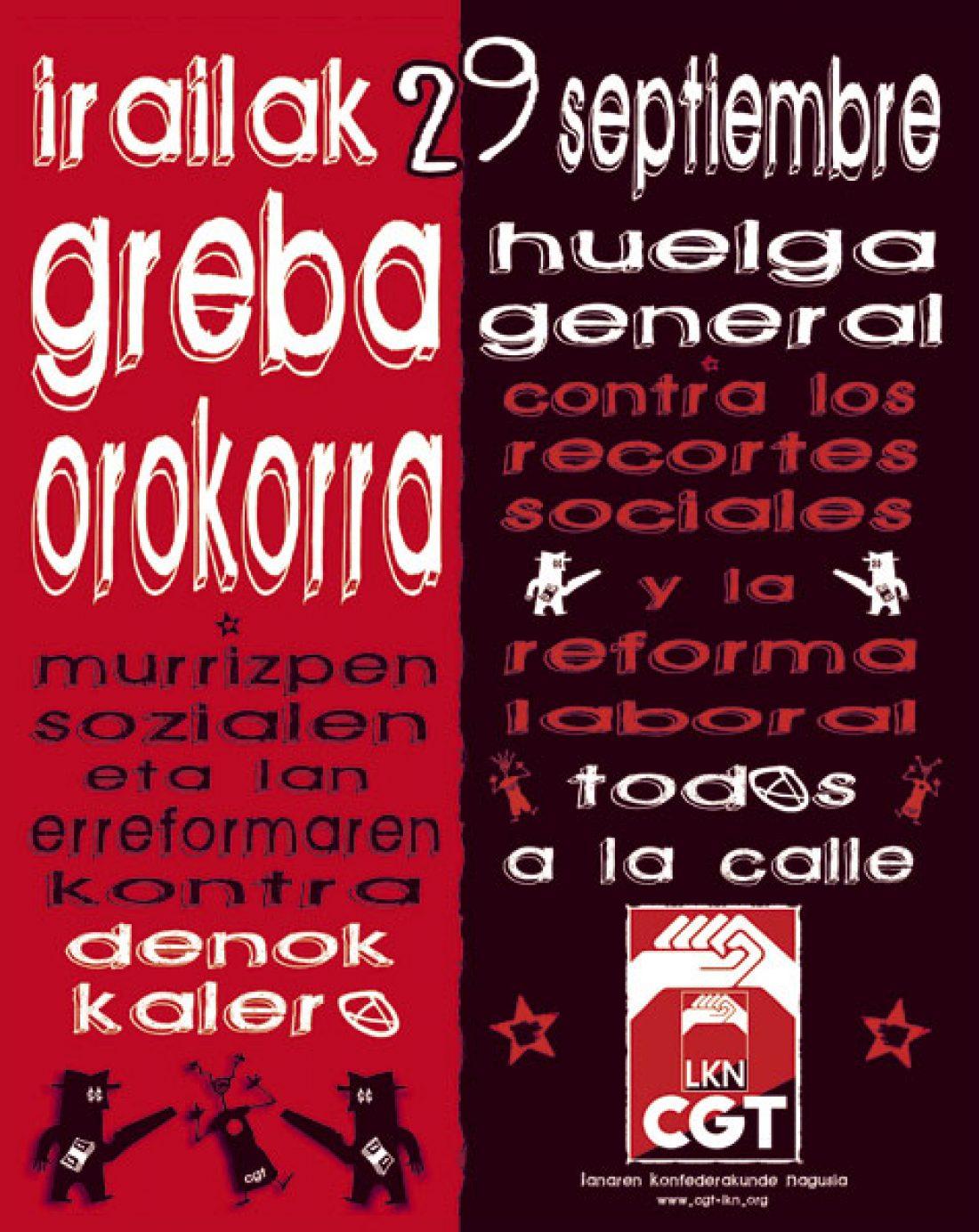 Comunicado de CGT-LKN Nafarroa: De nuevo a la calle. ¡29S Huelga General!