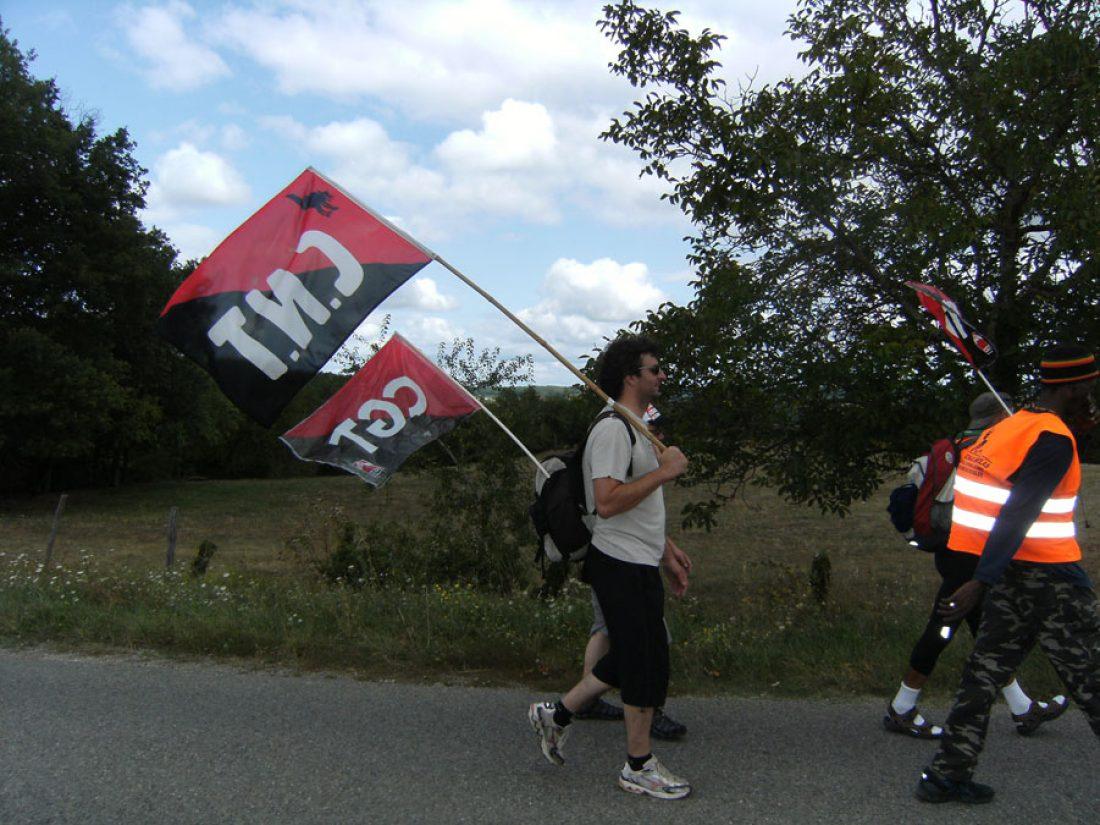 Montauban–Montpezat, la Marcha a Bruselas sigue su camino. Saludo de la CNT francesa