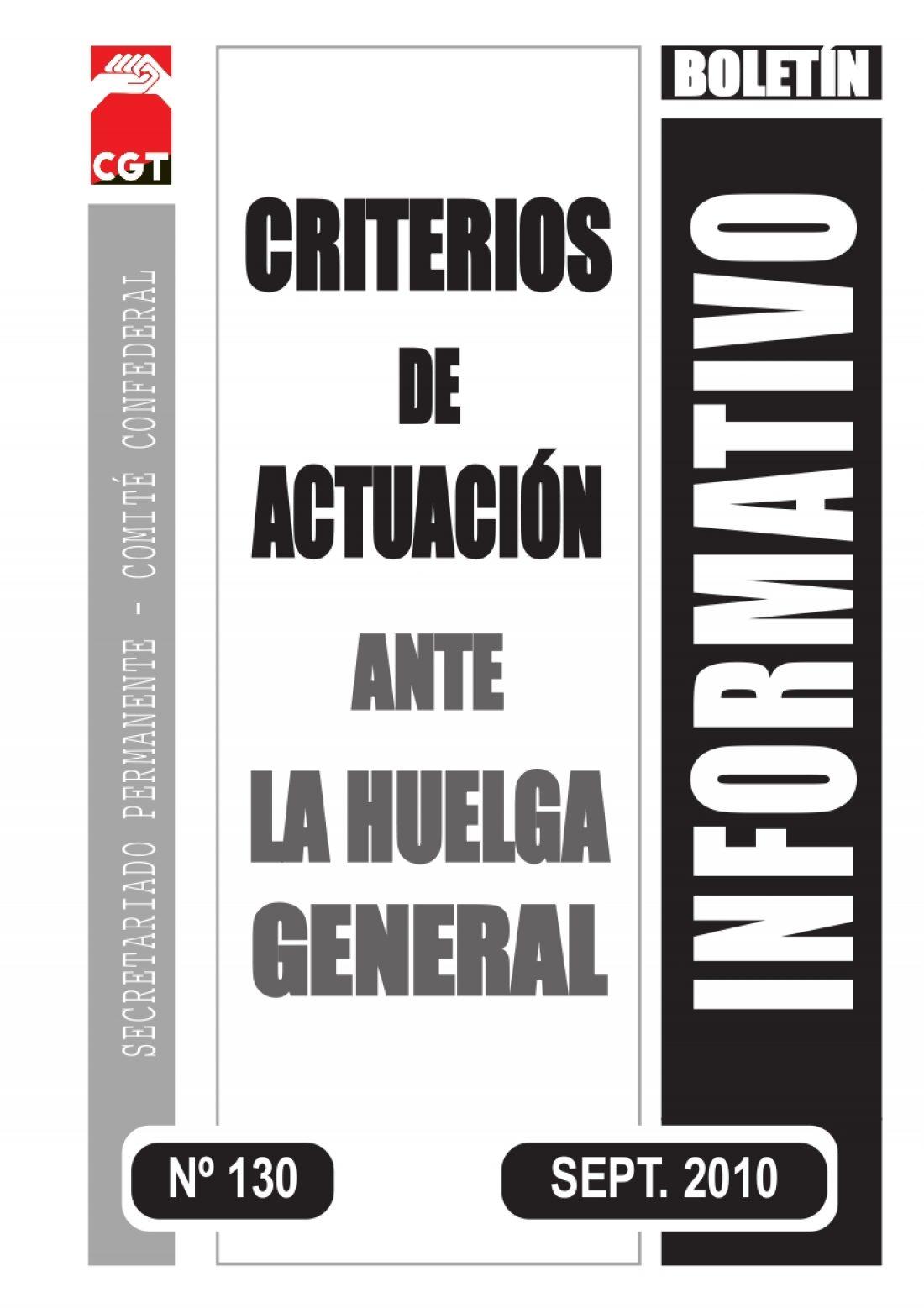 130. Criterios de actuación ante la Huelga General
