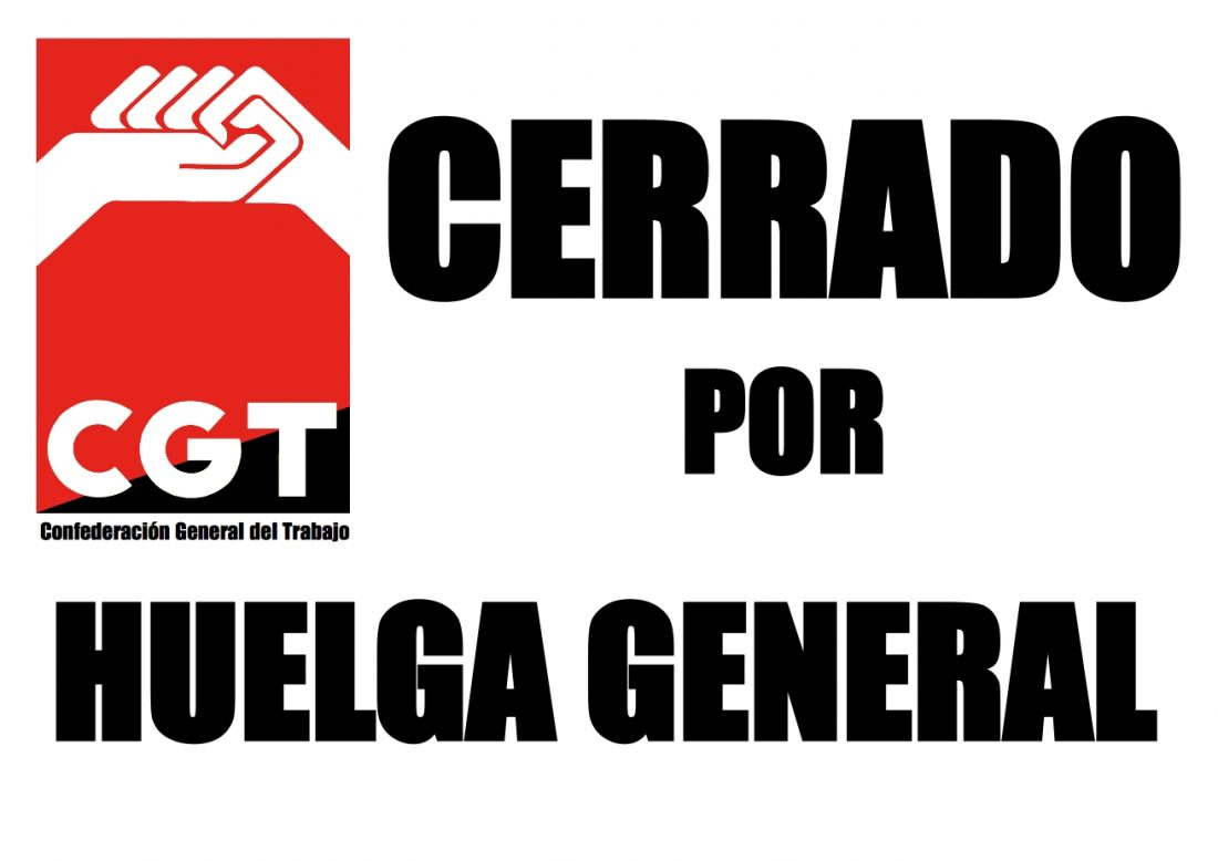 Convocatorias de CGT el 29-S : ¡HUELGA GENERAL !